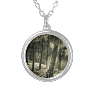 Cool Black and White Forest Sun Rays Nature Gifts Necklace