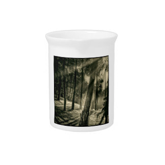 Cool Black and White Forest Sunshine Nature Beverage Pitchers