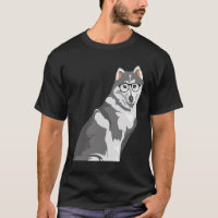 Cool Black and White Hipster Akita Inu T-Shirt