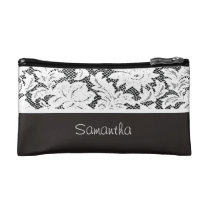 Cool Black and White Lace Makeup Bag
