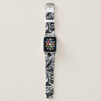 Cool Black and White Liquid Digital Art Apple Watch Band