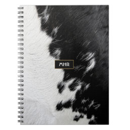 Cool Black and White Monogram Cowhide Notebook