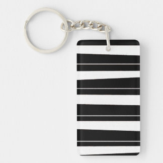 Cool Black and White Pattern Uneven Stripes Double-Sided Rectangular Acrylic Keychain