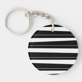 Cool Black and White Pattern Uneven Stripes Double-Sided Round Acrylic Keychain