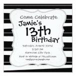 Cool Black and White Pattern Uneven Stripes Personalized Invite