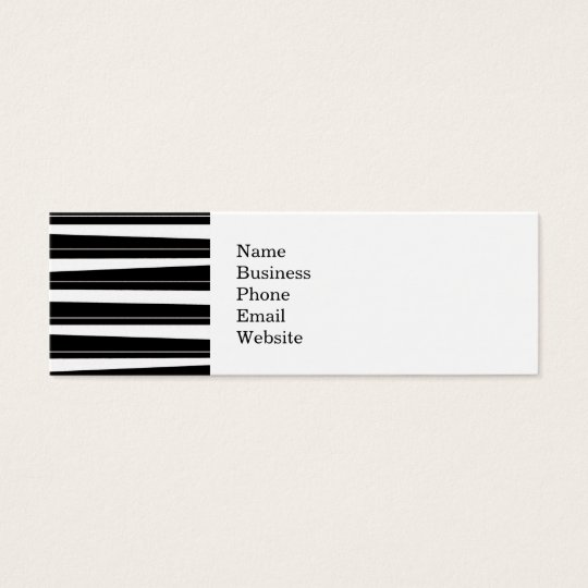 Cool Black and White Pattern Uneven Stripes Mini Business Card