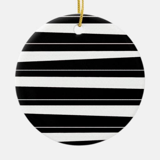 Cool Black and White Pattern Uneven Stripes Christmas Tree Ornaments