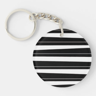 Cool Black and White Pattern Uneven Stripes Single-Sided Round Acrylic Keychain