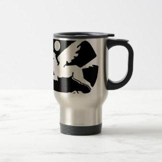 Cool black and white pegasus cartoon travel mug