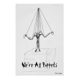 Cool  Black and White Puppet on Strings Comic Posters