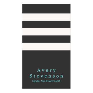 Cool Black and White Striped Modern Vertical Hip 2 Double-Sided Standard Business Cards (Pack Of 100)
