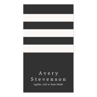 Cool Black and White Striped Modern Vertical Hip Double-Sided Standard Business Cards (Pack Of 100)