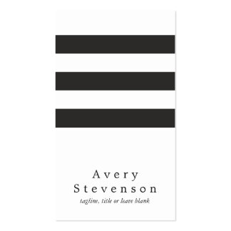 Cool Black and White Striped Modern Vertical White Double-Sided Standard Business Cards (Pack Of 100)