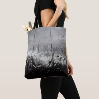 Cool black and white water drops tote bag