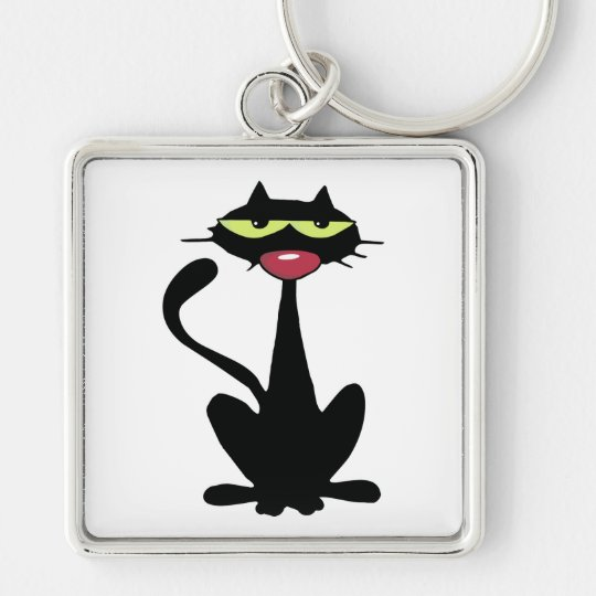 Cool Black Cat with big Red Nose Keychain
