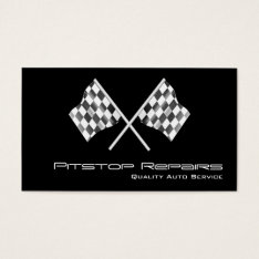 Cool Black Checkered Flag Business Card at Zazzle