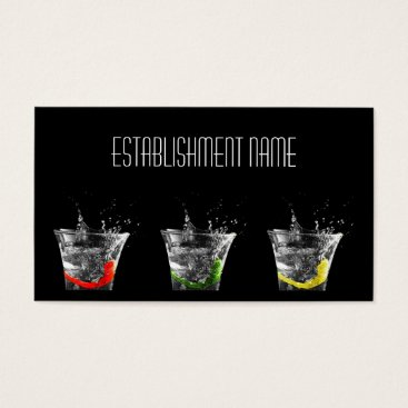 Professional Business Cool Black Contemporary Cocktail Bar Business Card