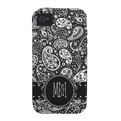 Cool Black Country Paisley with Swirly Name Tag iPhone 4 Case