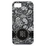 Cool Black Country Paisley with Swirly Name Tag iPhone 5 Cases