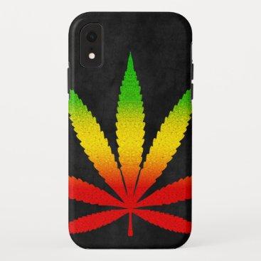 Cool Black Distressed Reggae Rasta Leaf Rastafari iPhone XR Case