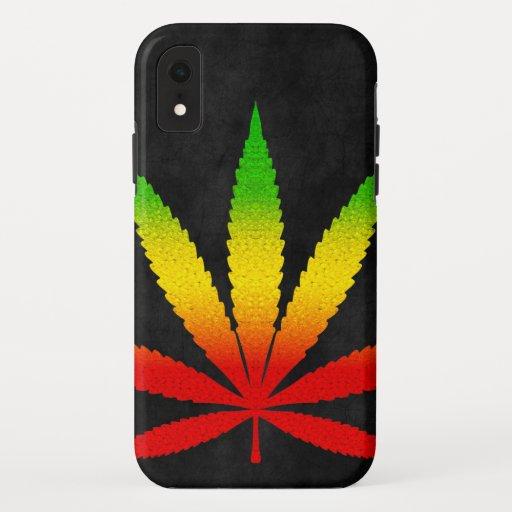 Cool Black Distressed Reggae Rasta Leaf Rastafari iPhone XR Case
