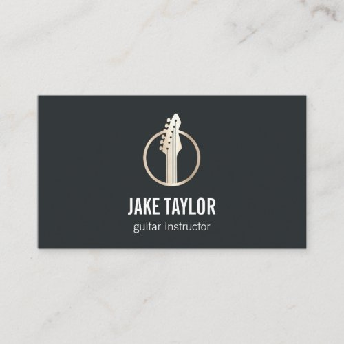 Cool Black  Gold Guitar Lessons Business Card