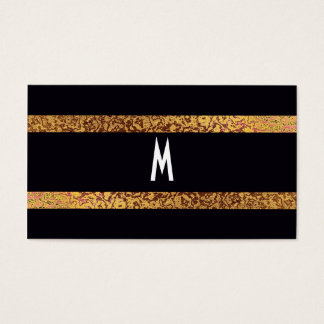 Cool Black/Gold Modern Retro Elegant Save the Date Business Card