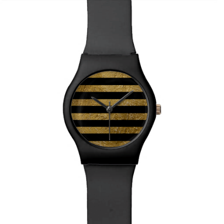 cool black golden stripes stylish watches