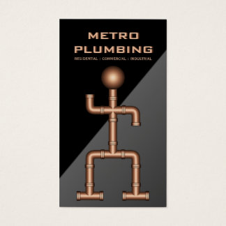 Cool Black Gray Copper Steel Pipe Plumber Plumbing Business Card