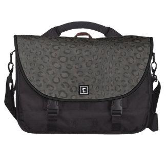 Cool black grey cheetah print monogram commuter bag