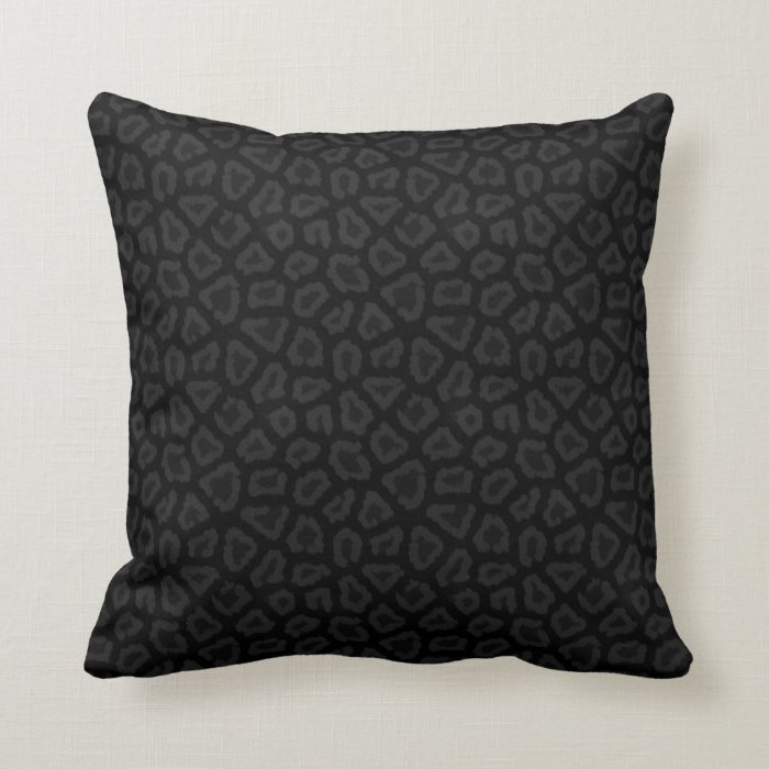 Cool Black & Grey Leopard Print Pattern Pillow