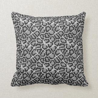 Cool Black & Grey Leopard Print Pattern Pillow