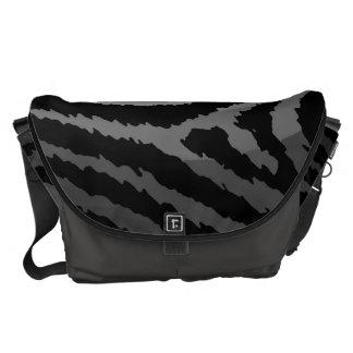 Cool Black Grey Zebra Print Messenger Bag
