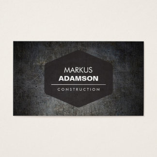 Cool Black Grunge Metal with Name Logo Business Card