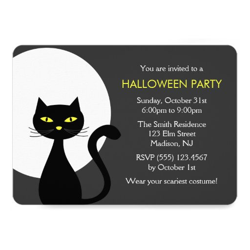 Cool Black Halloween Cat Party Card