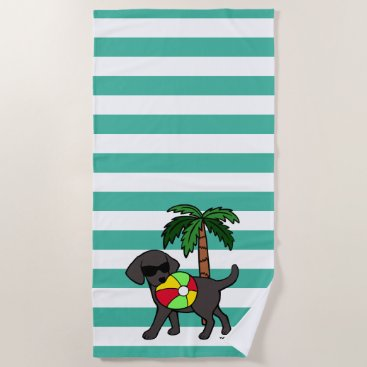 Beach Themed Cool Black Labrador Sunglasses Beach Towel