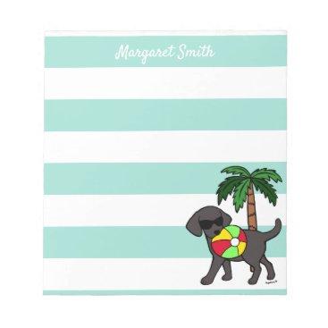 Beach Themed Cool Black Labrador Sunglasses Notepad
