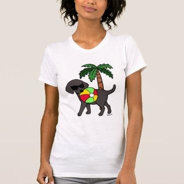 Beach Themed Cool Black Labrador Sunglasses T-Shirt