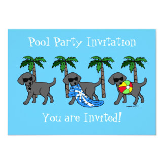 Cool Black Labradors Pool Party Card
