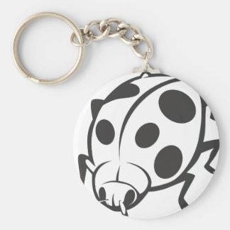 Cool Black Ladybug Tattoo Logo Keychain