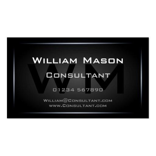 Cool Black Monogram Professional - Hi-Res Business Cards