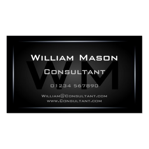 Cool Black Monogram Professional - Hi-Res Double-sided Standard Business Cards (pack Of 100)