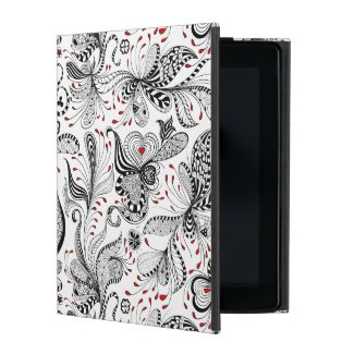 Cool Black & Red Exotic Flowers Pattern iPad Case