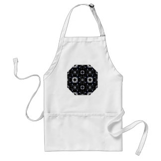 Cool Black Shining Star and Flower Kaleidoscope Adult Apron