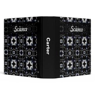Cool Black Shining Star and Flower Kaleidoscope binder