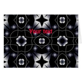 Cool Black Shining Star and Flower Kaleidoscope Greeting Card