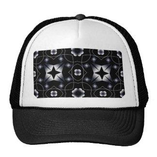 Cool Black Shining Star and Flower Kaleidoscope Trucker Hat