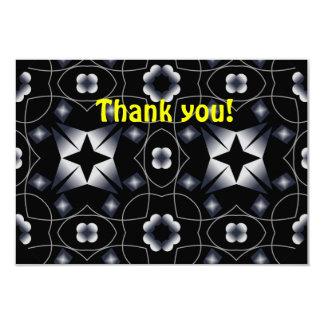 Cool Black Shining Star and Flower Kaleidoscope Custom Announcement