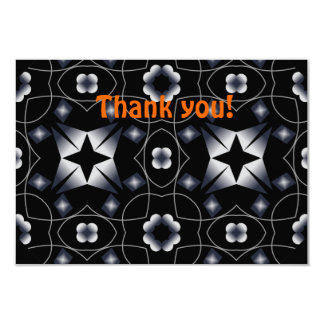 Cool Black Shining Star and Flower Kaleidoscope Personalized Invite