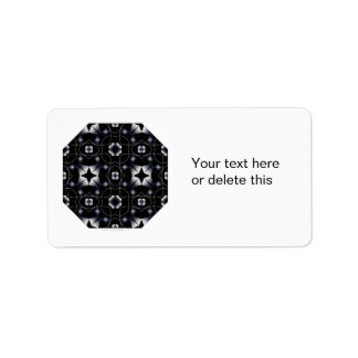 Cool Black Shining Star and Flower Kaleidoscope Personalized Address Labels